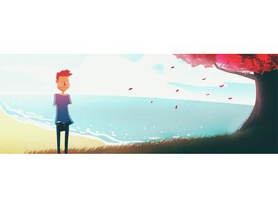 mr. Handless falling leaves concept character sunrise sun beach illustration