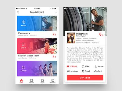 Entertainment App design icon iphone6 ios ui food activity brand movie entertainment