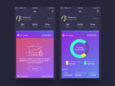Financial App financial money me app ios iphone6 data table