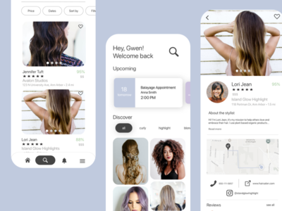 Cut&Color App Design: Hairstylist Search