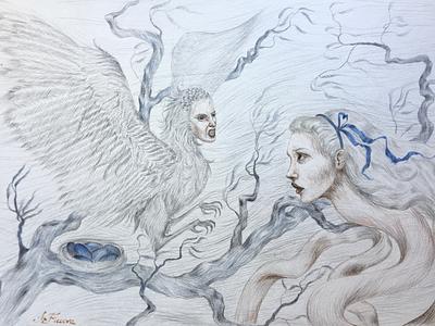 Another Alice's adventure surrealism fantasy snake bird transformation book illustration character illustration illustration art