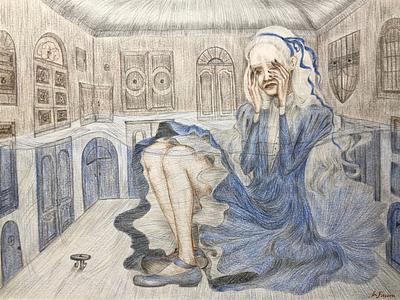 Lake of tears crying girl surrealism book illustration art illustrator illustration tell a story alice in wonderland