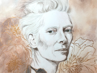 Tilda woman flowers drawing pencils pastels illustration tilda swinton portrait art