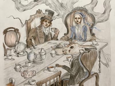 Mad tea party aristocratically children book illustration mad surreal art surrealism alice in wonderland fantasy character illustration book illustration book art art illustration