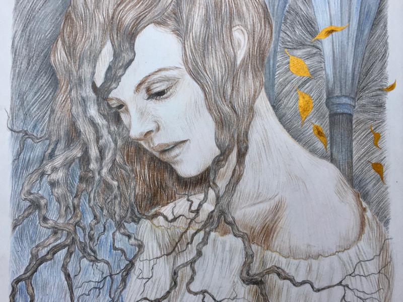 Rebirth lines transformation brunches gothic leaves autumn book illustration illustration art