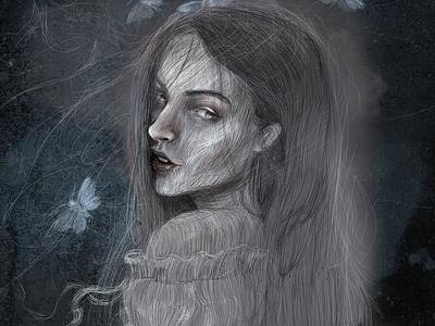 Ghost fantasy character illustration tell a story dark girl ghost digital illustration art