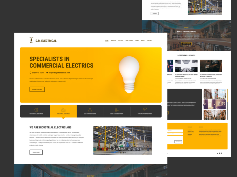 Commercial Electricians yellow header hero wip website electrician