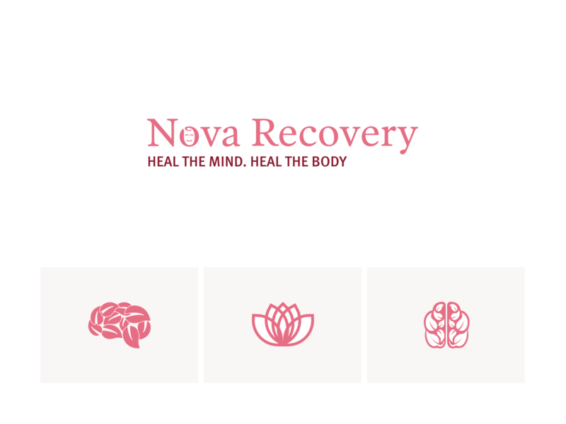 Natural + Mind mind leaf brain logo therapy recovery healing natural nature branding