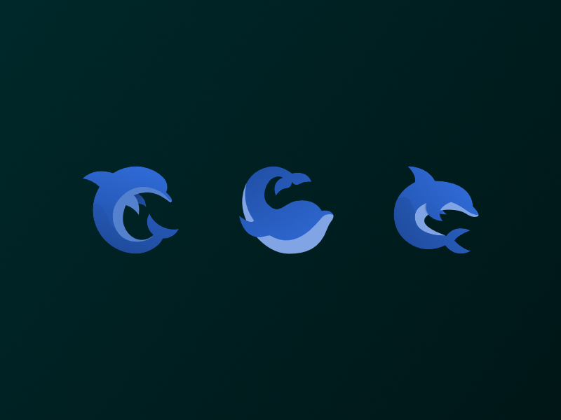 🐬 Dolphins Gone Digital icon logo branding sketch whale dolphin