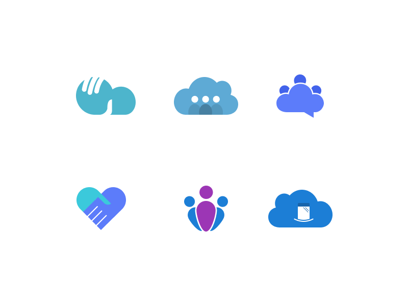 People Marks mobile communication people cloud figma concepts identity branding icons