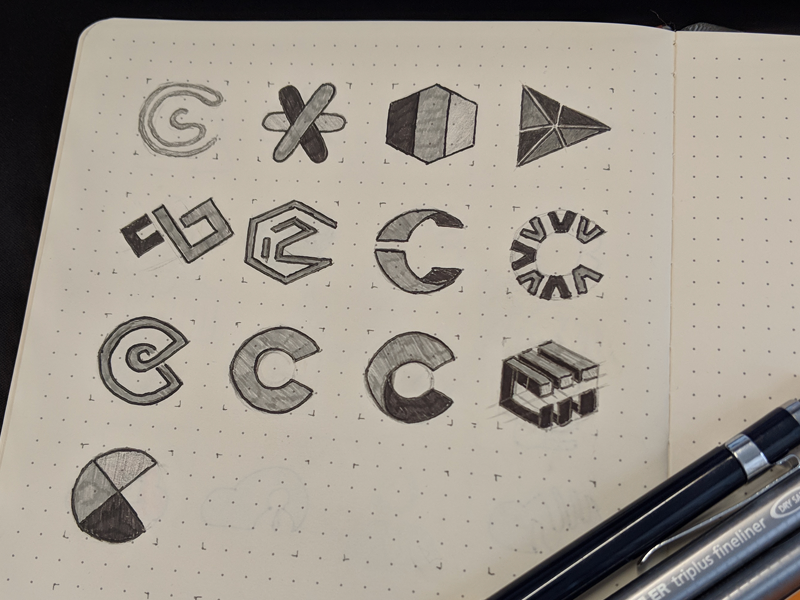 Collaboration logo icons marks collaboration sketch concept branding