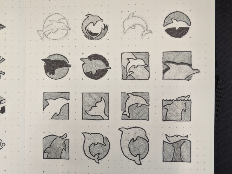 Simpler Dolphin Sketches identity logo branding sketches dolphins