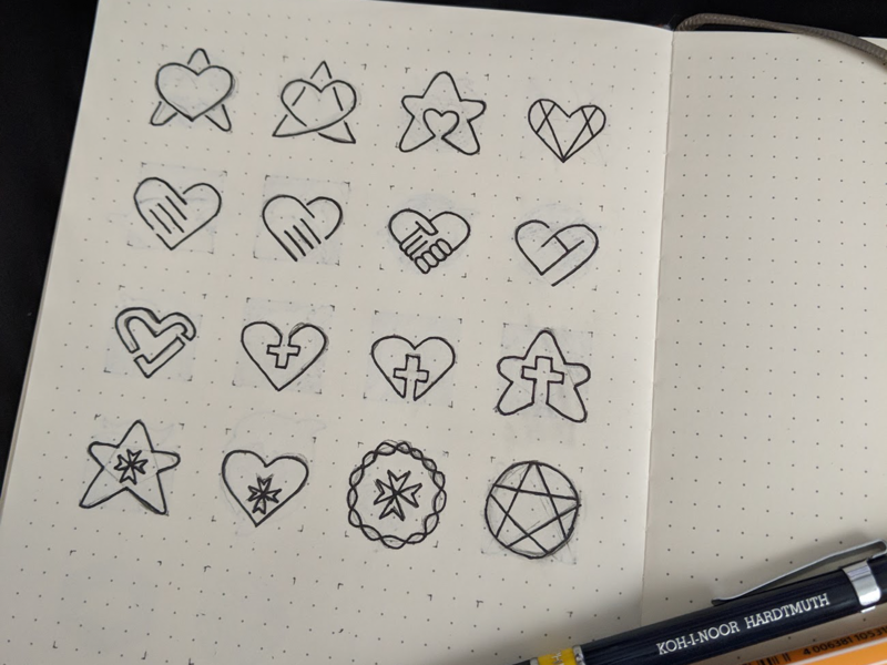 Hospice Marks cross star heart wip sketch icons logo hospice