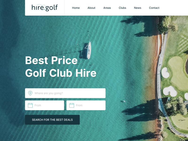 Hire Golf figma wip golf hire golf branding ui hero header