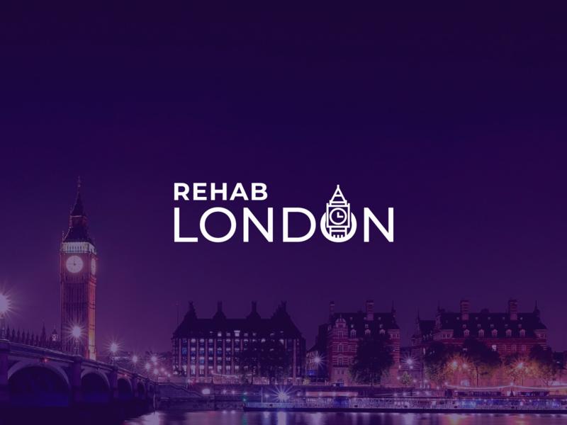 London purple rehab big ben london branding logo