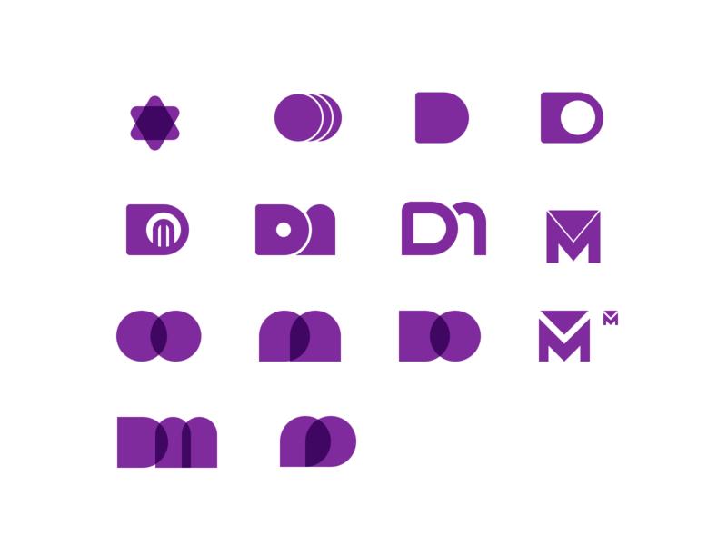 DM Initial Exploration brand identity early process personal dm ideas exploration wip logo branding