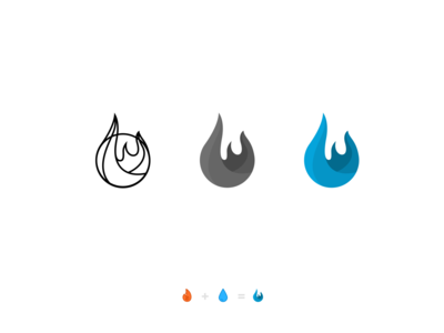 Fire Safety Branding process droplet flames wip icon logo branding water fire