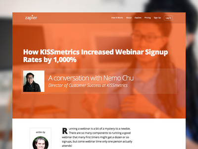 Zapier case study of KISSmetrics website marketing responsive webdesign layout flat blur simple minimalist landing page ui ux