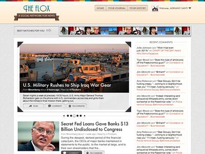 Flox - Home Page ui web news newsreader socialnetwork home social network fireworks