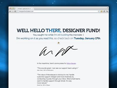 Designer Fund - v1 landing splash ui interface museo landing page