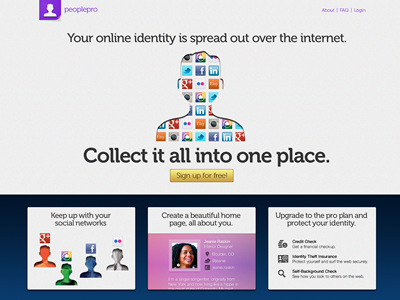 PeoplePro web design marketing ui website landing page gray blue purple identity web design