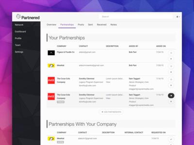 Partnered dashboard for tracking partnerships ux ui  ux uidesign web walkthrough software startup sketch product design product uiuxdesign uiux ui ycombinator enterprise app webapp b2b table dashboard