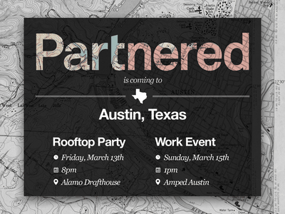 Partnered landing page for SXSW networking events and party monochrome graphic design graphicdesign design blackandwhite black  white black technology marketing startup marketing enterprise b2b startup ycombinator maps sxsw landing location event map