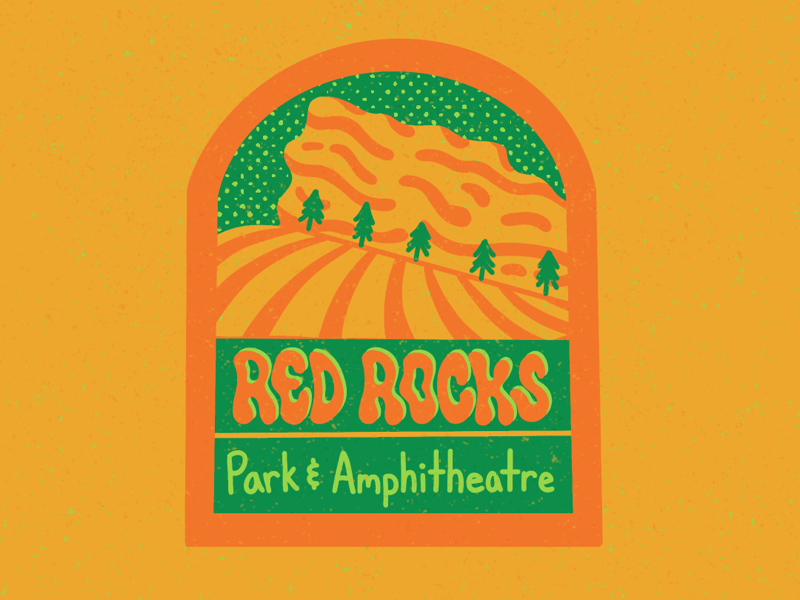 Red Rocks Park & Amphitheatre nature colorado red rocks patch design nature illustration design typography truegrit procreate illustration lettering digital lettering digital art