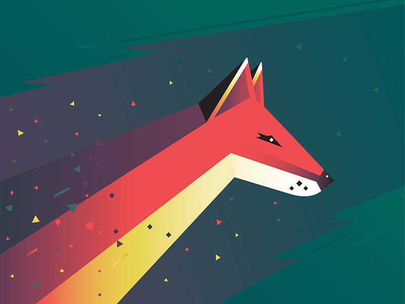 A Fox  gradients particles wild animal illustration print low poly flat design fox