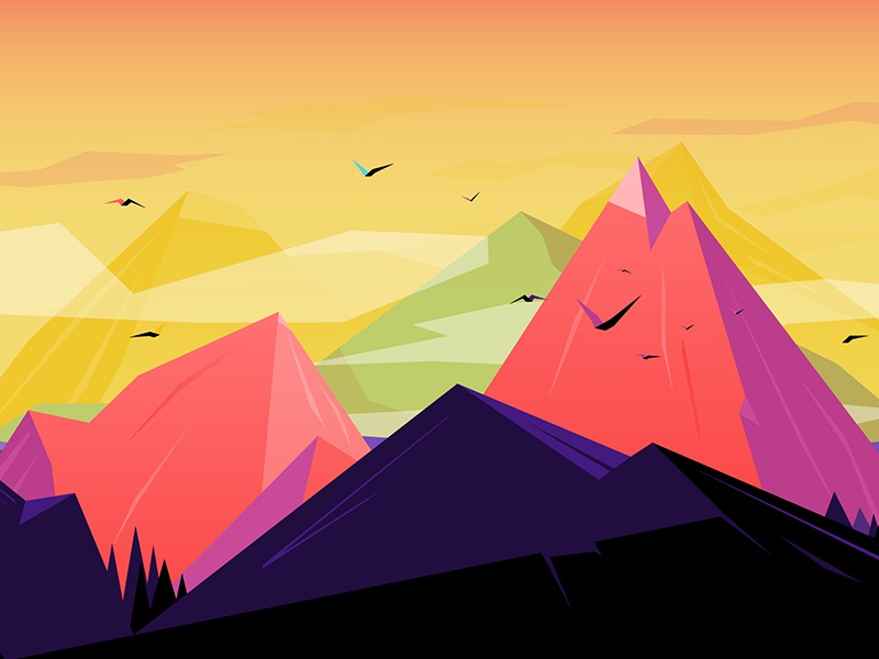 Oh the mountains prints low poly illustration gradients birds mountains flat design