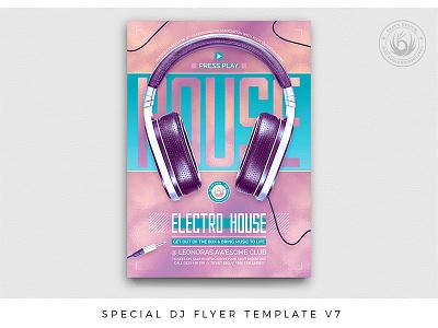 Special Dj Flyer Template V7 psd print design feminine holographic pink headphones concert music electronics electronic template poster flyer nightclub club night club party deejay dj
