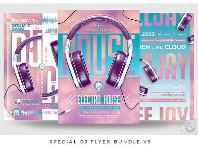 Special Dj Flyer Bundle V5 psd design print photoshop psd template poster flyer club headphones blue pink battle session electro music electronic concert party deejay dj