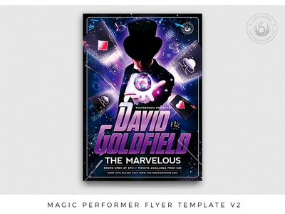 Magic Performer Flyer Template V2 club playingcards design print photoshop psd template poster flyer marvel event show witch sorcerer spell artist performer illusionist magician magic