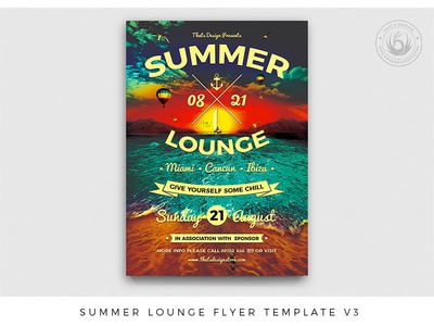 Summer Lounge Flyer Template V3 design print photoshop psd club template poster flyer ship boat sea ocean sunset beach festival night day summer party lounge summer