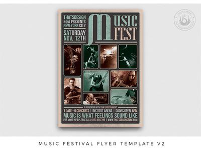 Music Festival Flyer Template V2 design print photoshop psd template poster flyer event album cover album gig band live grunge concert rock indie festival fest music