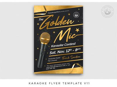 Karaoke Flyer Template V11 golden night club design print photoshop psd template poster flyer star elegant classy black and gold black gold contest party music karaoke
