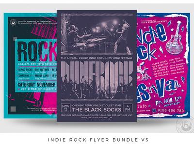 Indie Rock Flyer Bundle V3 grunge print photoshop psd design template poster flyer bundle cover album gig band live festival fest concert music rock indie