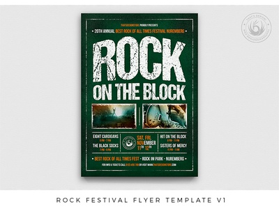 Rock Festival Flyer Template V1 album singer musician design print photoshop psd flyer template poster flyer grunge green hardrock band live festival fest concert music rock