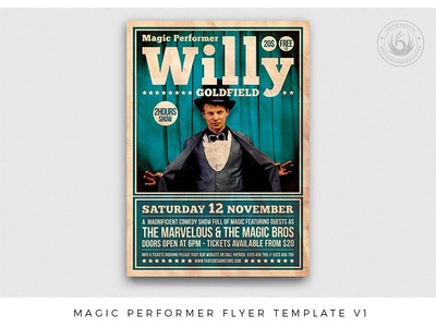 Magic Performer Flyer Template V1 artist festival event print photoshop psd illusionist vintage retro club comedy talent concert show magician magic design template poster flyer