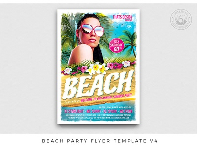 Beach Party Flyer Template V4 exotic island resort camp summertime photoshop psd template poster club flyer vacation holidays nightclub party hat bash day night party beach summer