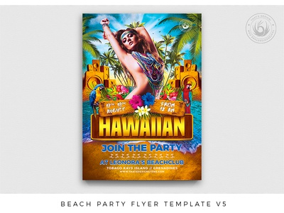 Beach Party Flyer Template V5 sexy blue lagoon design print photoshop psd flyer template party poster flyer island exotic tropical vacation holidays day night bash beach party summer beach