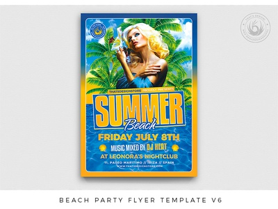 Beach Party Flyer Template V6 resort holidays ocean sea design print photoshop psd template party poster flyer exotic tropical pool island club bash party summer beach