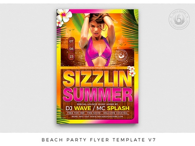 Beach Party Flyer Template V7 sunset club night club bash caribbean pool sexy exotic tropical island design print photoshop psd template poster flyer party beach summer