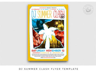 DJ Summer Clash Flyer Template concert cancun ibiza design print photoshop psd template poster flyer festival electronic colorful music dj club bash party beach summer