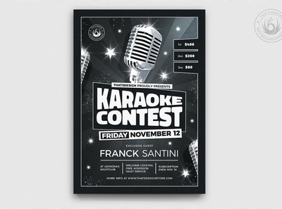 Karaoke Flyer template V12 contest band live design print photoshop psd template poster flyer crooner soul retro concert microphone elegant classy music blackandwhite karaoke