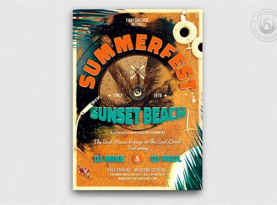 Summer Fest Flyer Template V1 night sunset festivals festival design print photoshop psd template poster flyer ocean sea sand deejay dj club party beach summer
