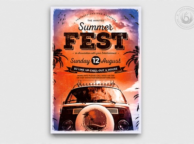 Summer Fest Flyer Template V2 california sunset vacation holiday hippy van roadtrip club print photoshop psd design template poster flyer festival fest party beach summer