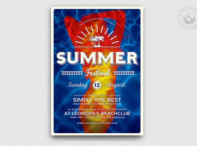 Summer Fest Flyer Template V3 caribbean sunset scuba diving ocean island exotic tropical pool design print photoshop psd flyer template flyer club festival fest party beach summer