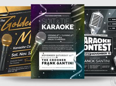 Karaoke Flyer Bundle V3 microphone black golden gold design print photoshop psd template poster club flyer club karaoke night elegant classy party contest singing music karaoke