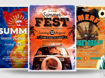 Summer Fest Flyer Bundle surf surfing pool holidays vacation roadtrip dj sea ocean design print template poster flyer festivals festival club party summer beach